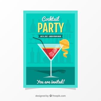 Folheto de festa com cocktail e laranja em design plano