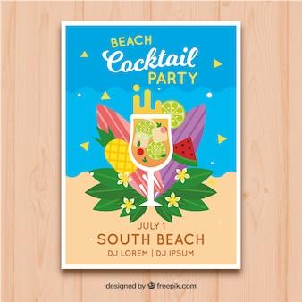 Folheto de festa de praia com cocktail e frutas em design plano