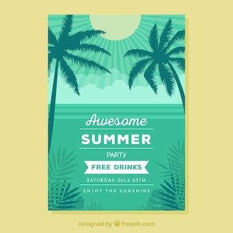 Folheto de festa de verão com palmeiras