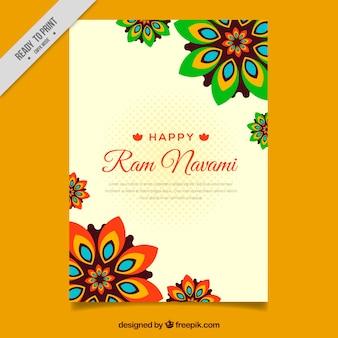 Folheto de flores ornamentais ram Navami