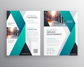 Folheto de folheto de negócios profissional azul ou design de cartaz de relatório anual