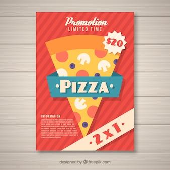 Folheto de layout de pizza em design plano