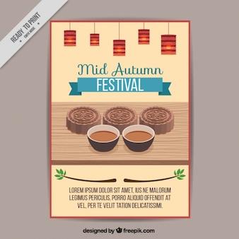 Folheto de Mid-Autumn Festival com comida típica