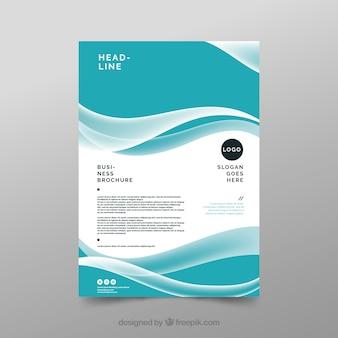 Folheto de negócio azul e branco