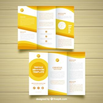 Folheto de negócios amarelo e branco