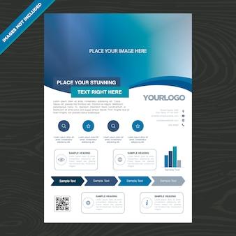 Folheto de negócios azul e branco