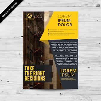 Folheto de negócios com as cotações e cor amarela