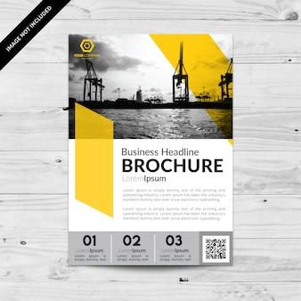 Folheto de negócios com números e cor amarela