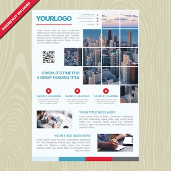Folheto de negócios com quadro em mosaico