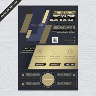 Folheto de negócios em preto e ouro