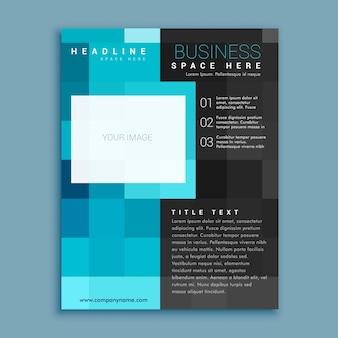 Folheto de negócios geométrico quadrado criativo azul folheto modelo de design de página de capa