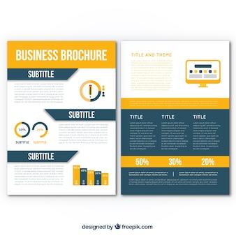 Folheto de negócios plano com gráficos decorativos