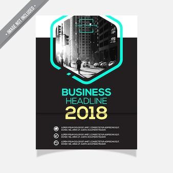 Folheto de negócios preto e branco