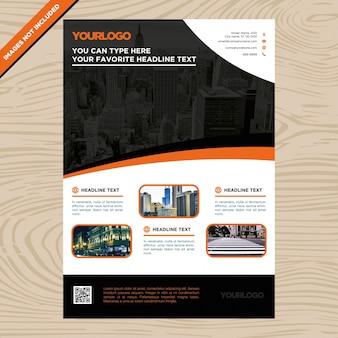 Folheto de negócios preto e laranja