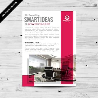 Folheto de negócios simples com cor rosa