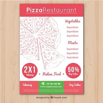 Folheto de restaurantes italianos com ofertas de pizza