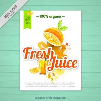 Folheto de suco de laranja no efeito aquarela