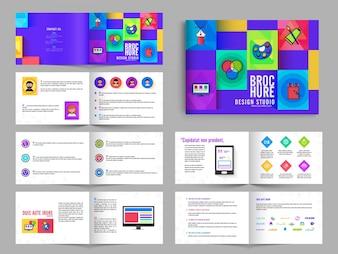 Folheto de várias páginas, Folheto Design Pack com cor roxa para estúdio de arte