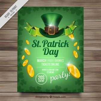 Folheto dia de verde patrick com chapéu e moedas