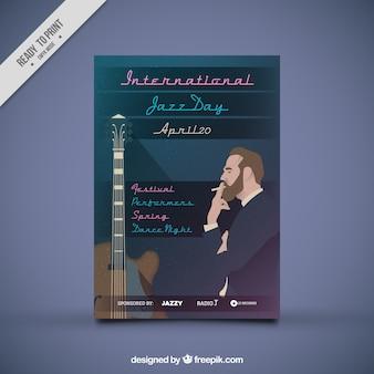 Folheto do dia internacional de jazz com o homem fumar