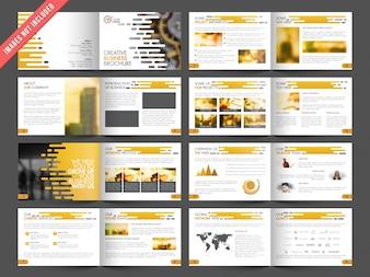 Folheto do negócio com detalhes laranja