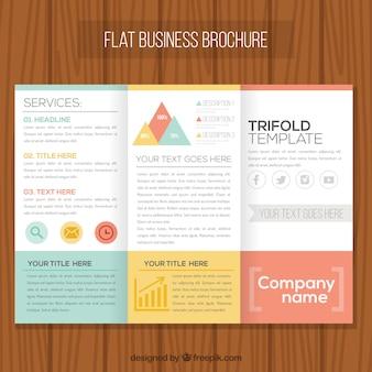 Folheto do negócio plano com formas coloridas