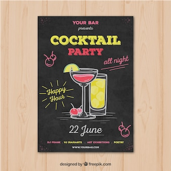 Folheto do partido com cocktails desenhados a mão