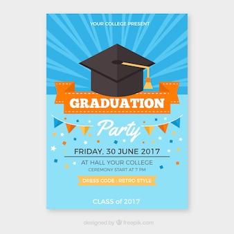 Folheto do partido da graduação com detalhes alaranjados