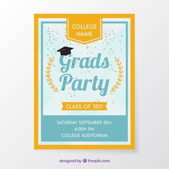 Folheto do partido de graduação com frame alaranjado