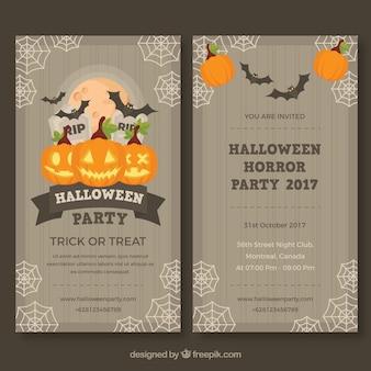Folheto do partido de Halloween com estilo vintage