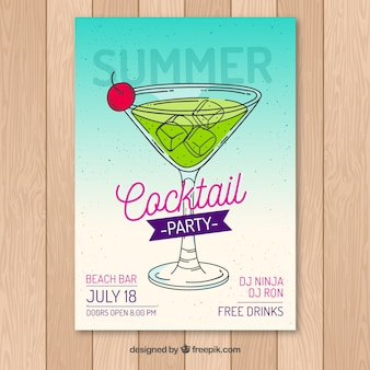 Folheto do partido de verão com cocktail desenhado a mão