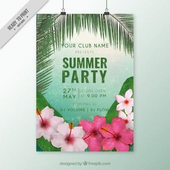 Folheto do partido do verão com flores tropicais
