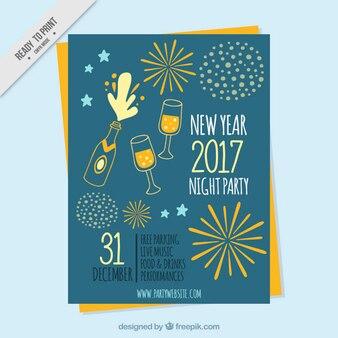 Folheto do partido do vintage com desenhos de champanhe e fogos de artifício