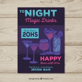 Folheto do partido escuro com bebidas desenhadas a mão