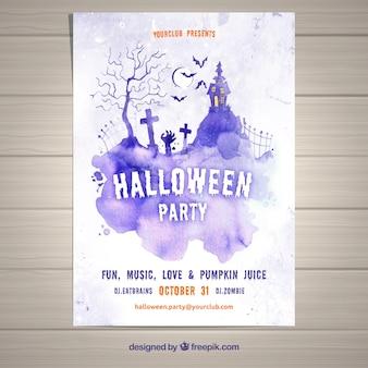 Folheto do partido para halloween em lilás aquarela