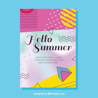 Folheto dos elementos memphis do partido de verão