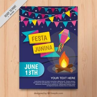 Folheto Festa junina com guirlandas