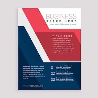Folheto geométrico vermelho e azul design modelo design de capa relatório anual