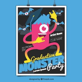 Folheto moderno do partido de graduação com monstro feliz