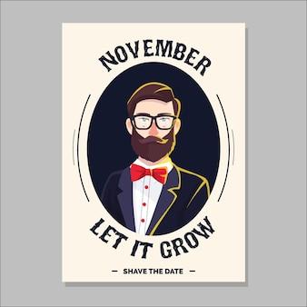 Folheto Movember com hipster moderno