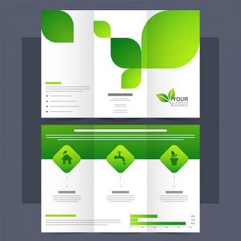 Folheto Tri-Fold, Folheto para o conceito de Ecologia.