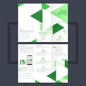 Folheto trifold comercial ou design de flyer com triângulos verdes.