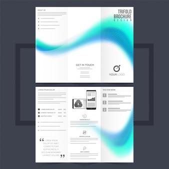 Folheto trifold de negócios ou design de flyer com ondas azuis.