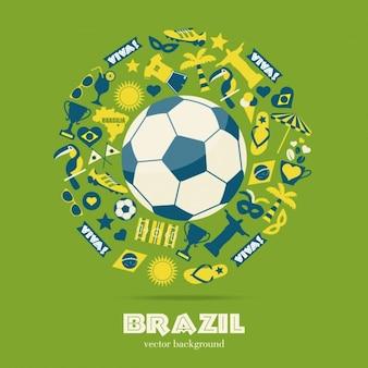 Football grande rodeado por elementos típicos brasileiros