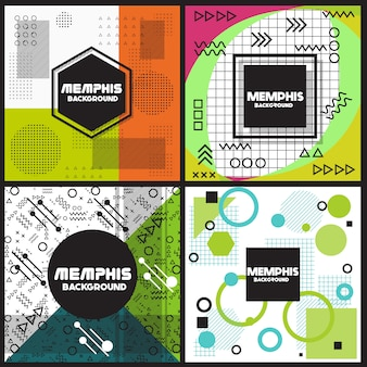 Formas geométricas diferentes panfletos coloridos