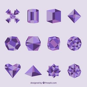 Formas geométricas em cor roxa