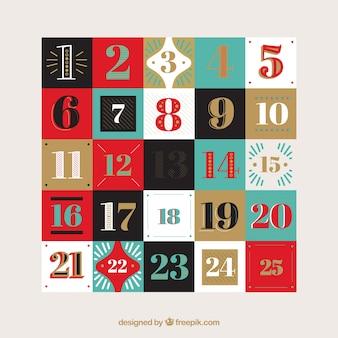 Formas retros calendário do advento
