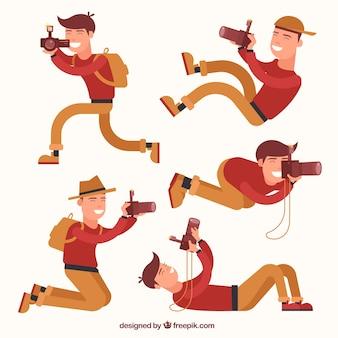 Fotógrafo dos desenhos animados em situações diferentes