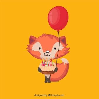 fox encantadora com um bolo de aniversário e balão