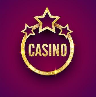 Frame de luz dourada do letreiro com texto Casino.